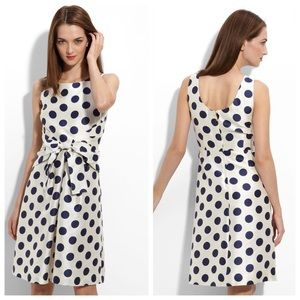 Kate Spade Jillian Dress Ivory & Navy polka dots 8